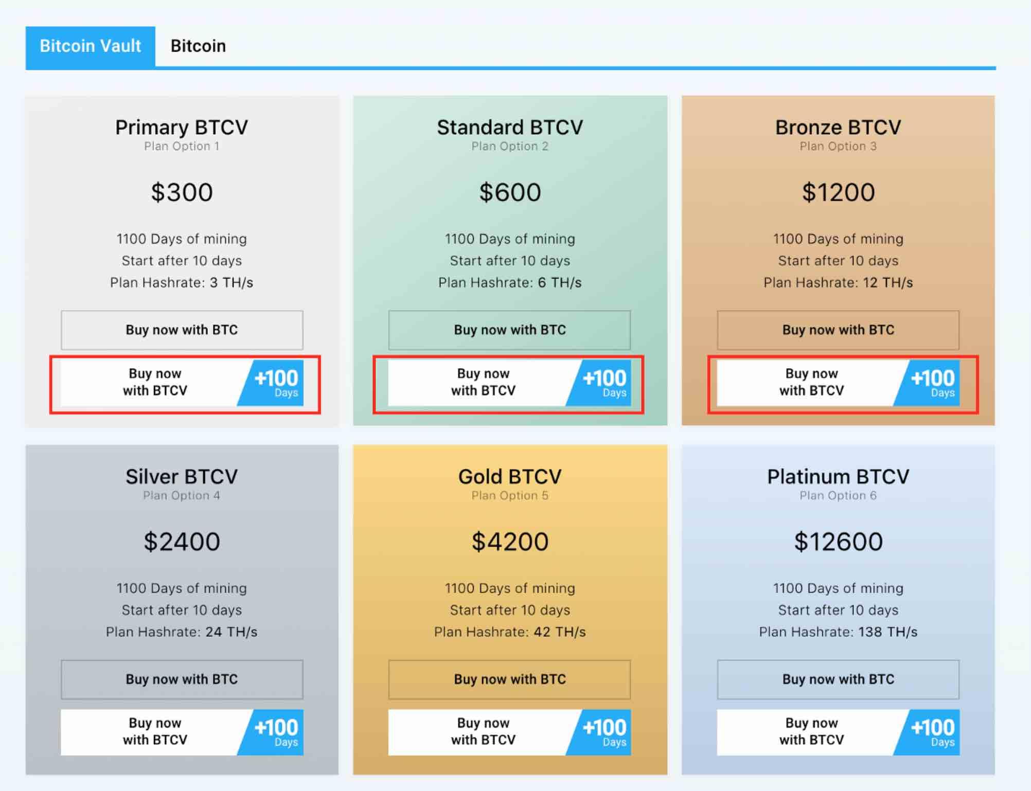 Planes de minería online para Bitcoin Vault