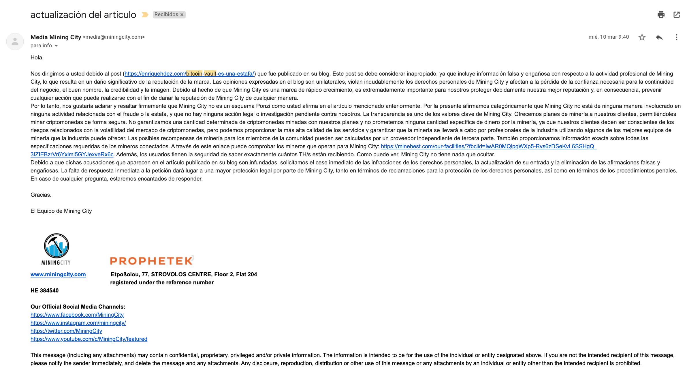 Mail amenazando con denuncia por articulo de blog sobre bitcoin vault y mining city