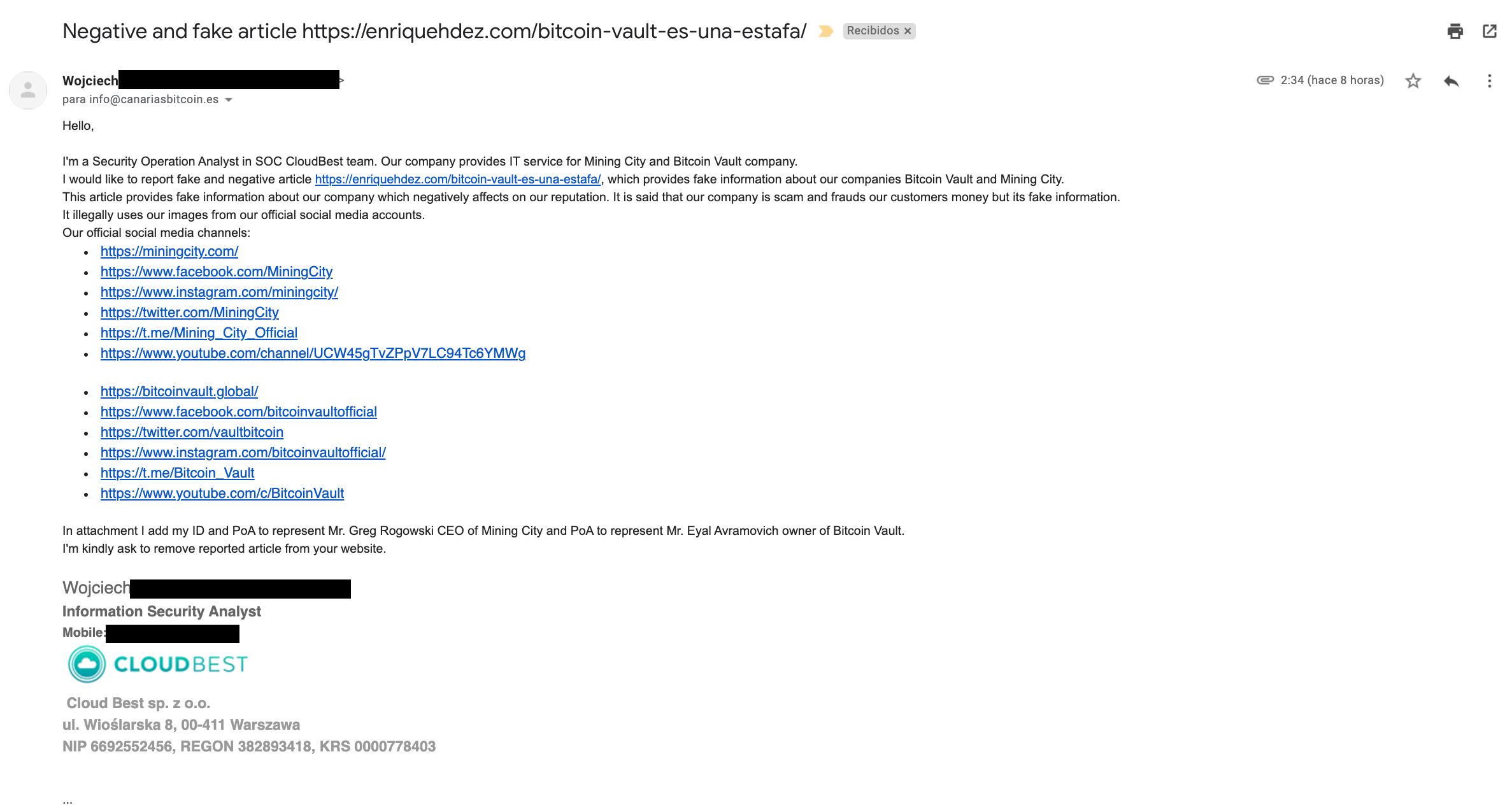 Mail de representante de bitcoin vault y mining city solicitando la eliminación del blog
